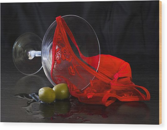 Spilled Martini With Red Panties Wood Print