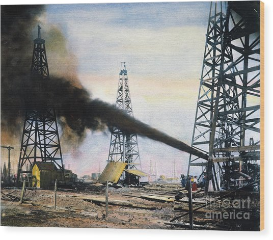 Spindletop Oil Pool, C1906 Wood Print