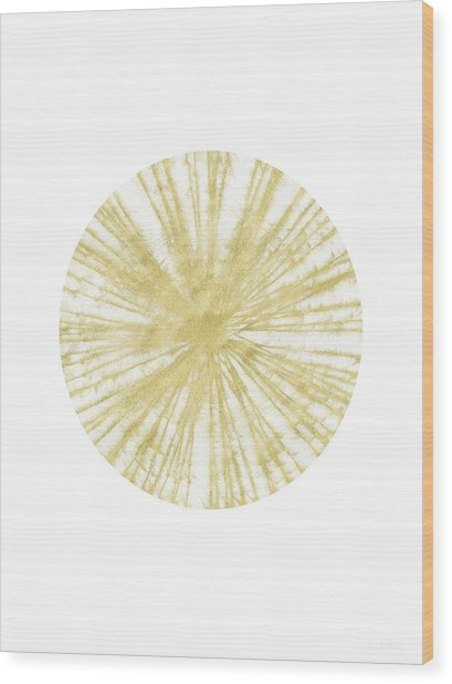 Spinning Gold Ball Art By Linda Woods Wood Print