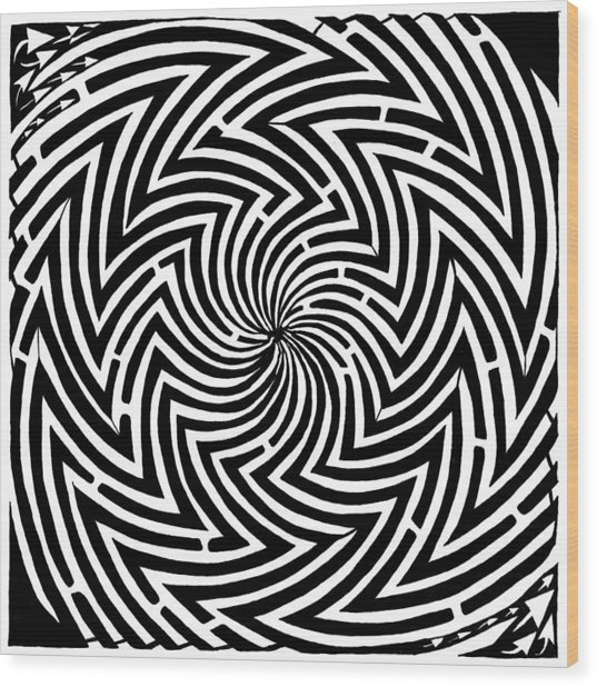 Spinning Optical Illusion Maze Wood Print by Yonatan Frimer Maze Artist