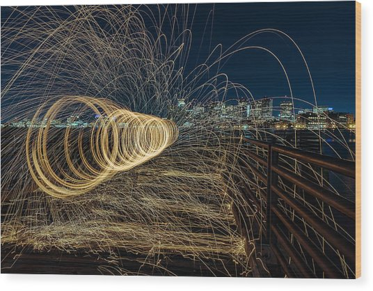 Spinning Sparks Wood Print