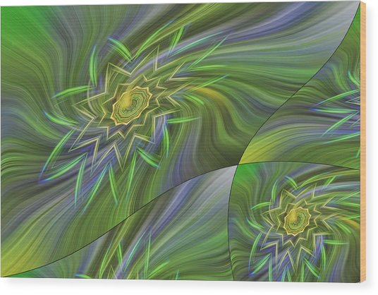 Spinning Star Tiles Wood Print by Linda Phelps