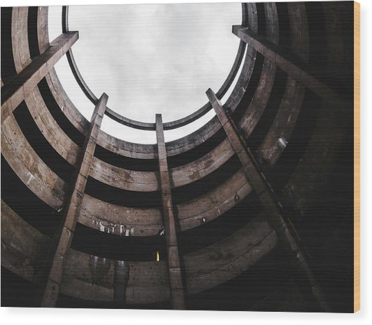 Spiral Architecture Photograph. Looking Up. Wood Print by Dylan Murphy
