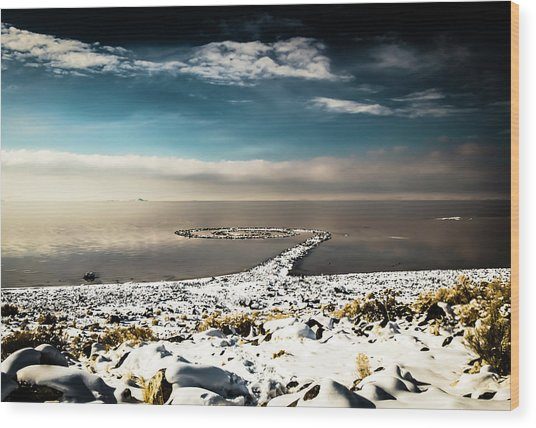 Spiral Jetty In Winter Wood Print