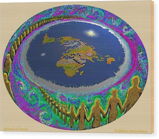 Spiral Of Souls Flat Earth Wood Print