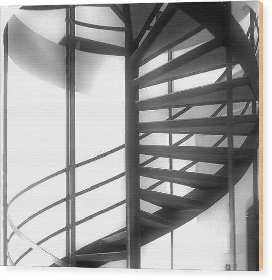 Spiral Staircase In Ethereal Light Wood Print