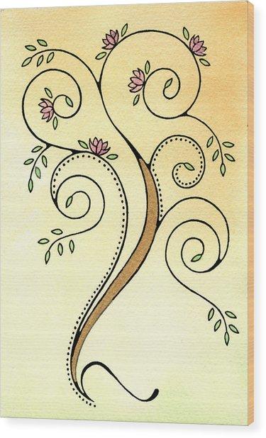 Spiral Tree Wood Print by Nora Blansett