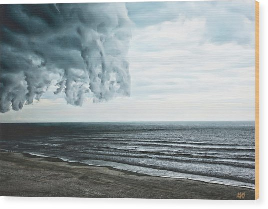 Spiraling Storm Clouds Over Daytona Beach, Florida Wood Print