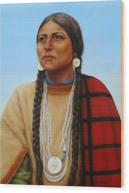 Spirit And Dignity-native American Woman Wood Print
