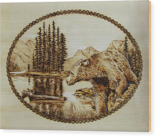 Spirit Bear Wood Print by Chris Wulff