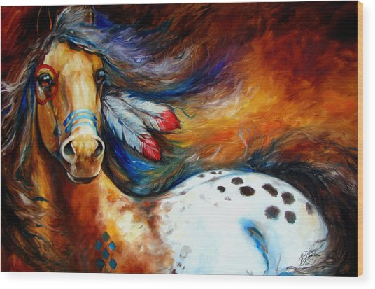 Spirit Indian Warrior Pony Wood Print