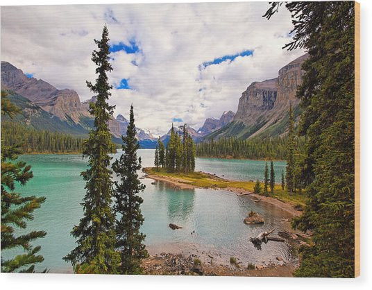 Spirit Island View Alberta Canada Wood Print by George Oze