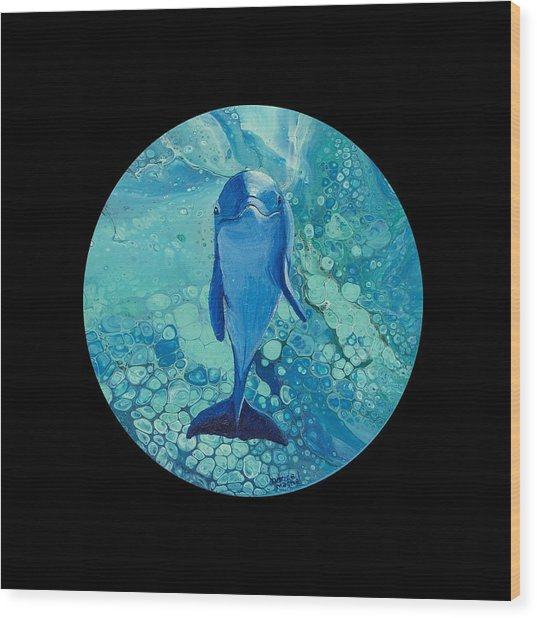 Wood Print featuring the painting Spirit Of The Ocean On Black by Darice Machel McGuire