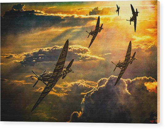 Spitfire Attack Wood Print