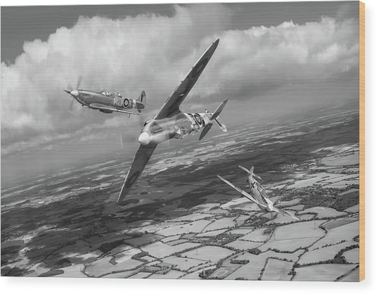Wood Print featuring the photograph Spitfire Tr 9 Fighter Affiliation Bw Version by Gary Eason