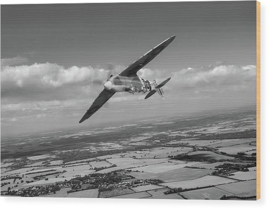 Wood Print featuring the photograph Spitfire Tr 9 On A Roll Bw Version by Gary Eason