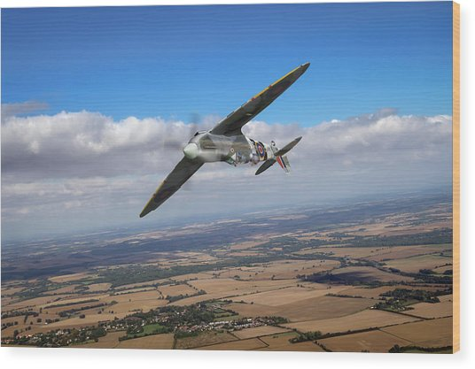 Wood Print featuring the photograph Spitfire Tr 9 On A Roll by Gary Eason