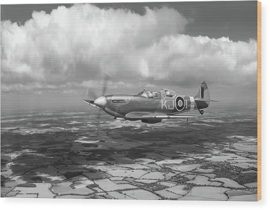 Wood Print featuring the photograph Spitfire Tr 9 Sm520 Bw Version by Gary Eason