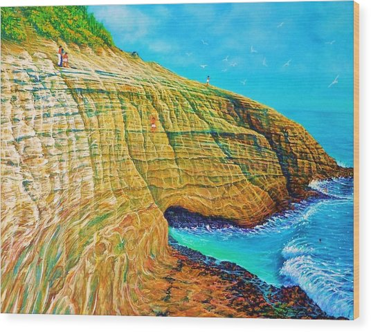 Spitting Caves Of Portlock Point Wood Print