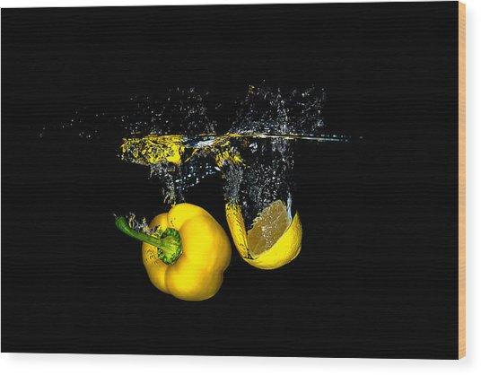 Splash Of  Pepper And Lemon Wood Print