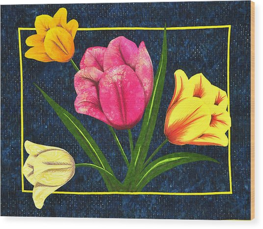 Splash Of Tulips Wood Print