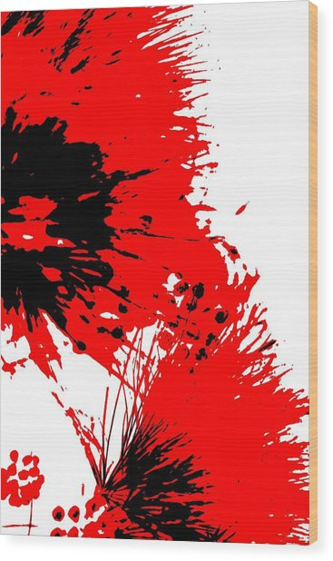 Splatter Black White And Red Series Wood Print