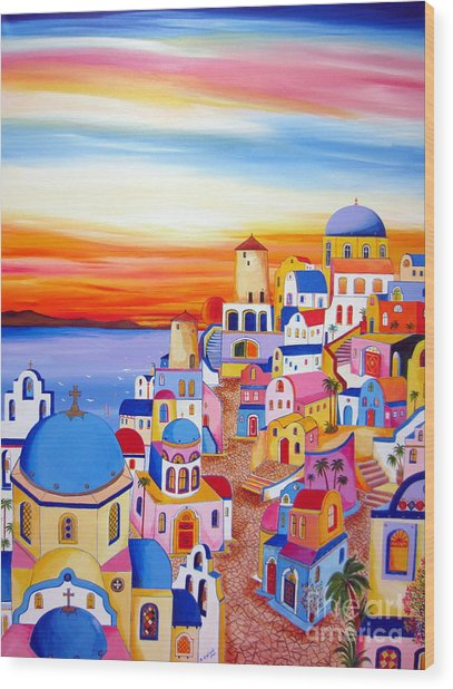 Splendid Santorini Sunset My Way Wood Print