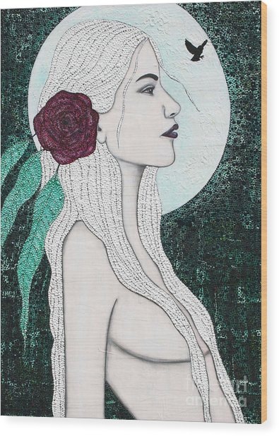 Wood Print featuring the mixed media Splendour by Natalie Briney