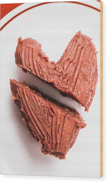 Split Hearts Chocolate Fudge On White Plate Wood Print