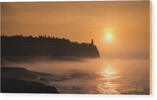 Split Rock's Morning Glow Wood Print