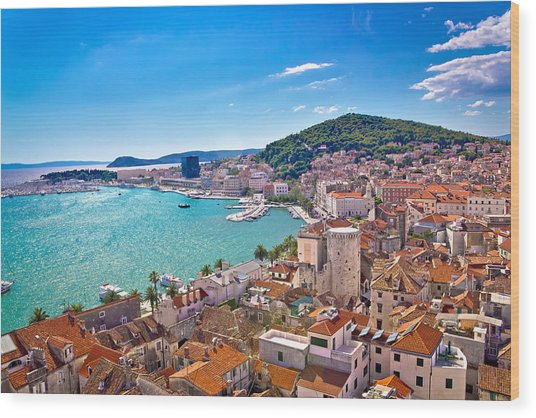 Split Waterfront And Marjan Hill View Wood Print