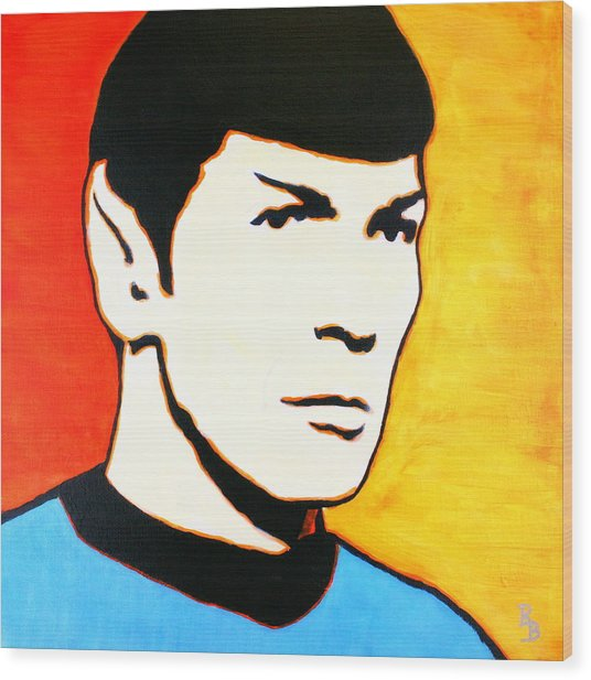 Spock Vulcan Star Trek Pop Art Wood Print