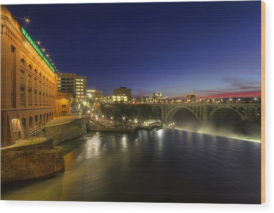 Spokane Falls At Night Wood Print