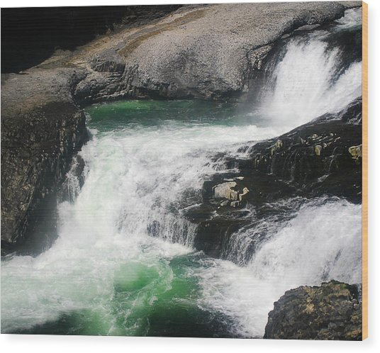 Spokane Water Fall Wood Print