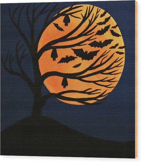 Spooky Bat Tree Wood Print