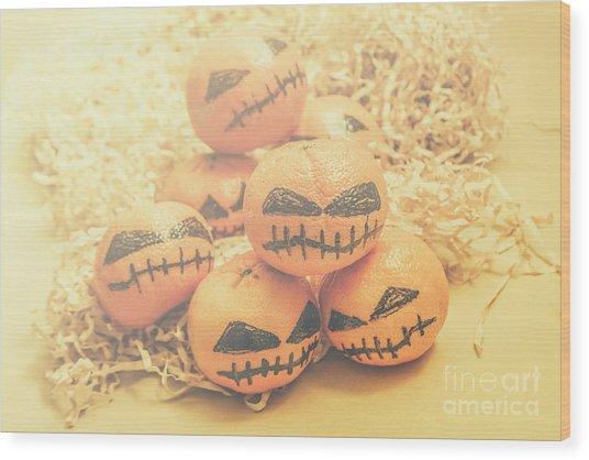 Spooky Halloween Oranges Wood Print