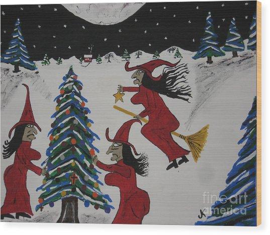 Spooky Merry Christmas Wood Print