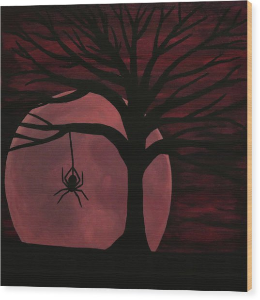 Spooky Spider Tree Wood Print