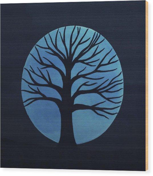 Spooky Tree Blue Wood Print