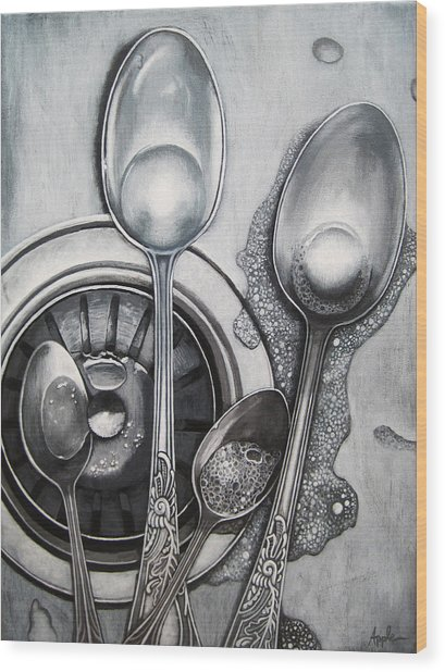 Spoons Realistic Still Life Painting Wood Print