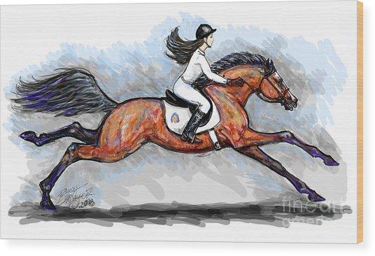 Sport Horse Rider Wood Print