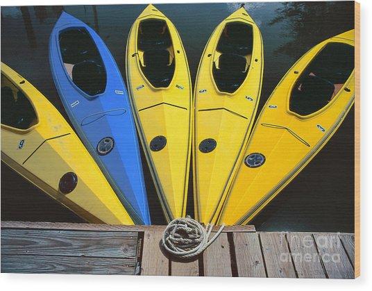 sports boat photography - Yellow Kayaks Wood Print