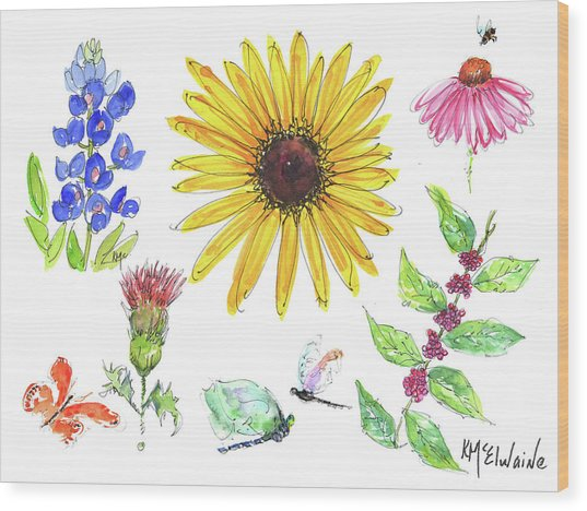 Spring 2017 Medley Watercolor Art By Kmcelwaine Wood Print