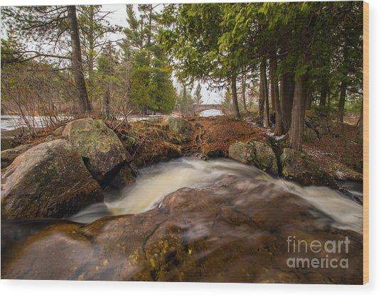 Spring At Bog River Falls Wood Print