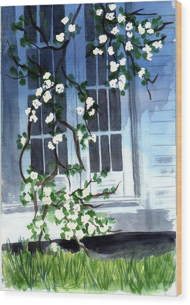 Wood Print featuring the painting Spring At Mom's by Jane Croteau