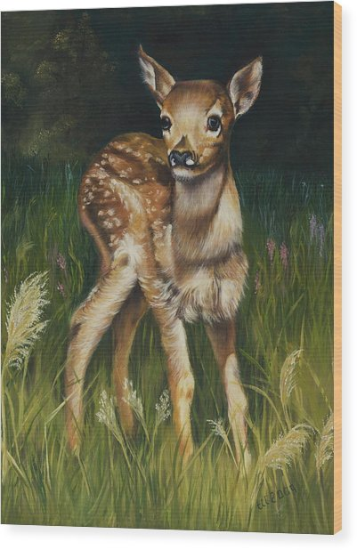 Spring Baby Fawn Wood Print