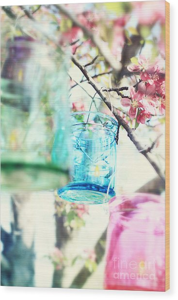 Spring Blossoms And Candles Wood Print