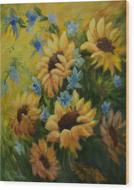 Sunflowers Galore Wood Print