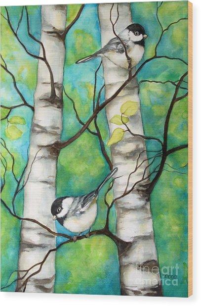 Spring Chickadees Wood Print