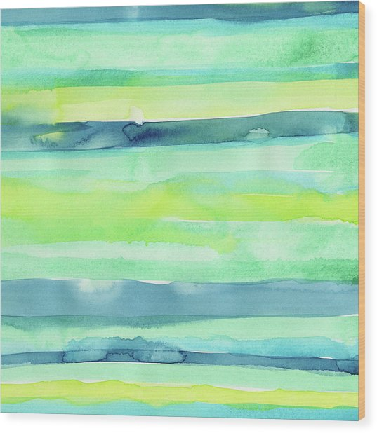 Spring Colors Pattern Horizontal Stripes Wood Print